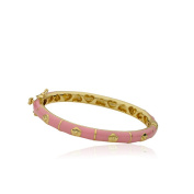 LMTS Girls' 14k Goldplated Pink Enamel and Gold Flowers Bangle