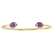 LMTS Girls Sports 14k Gold Plated Purple Enamel Snake Bangle Accented Football