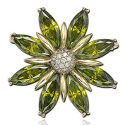 Suzy Levian Cubic Zirconia Sterling Silver and 18K Gold Green Flower Brooch