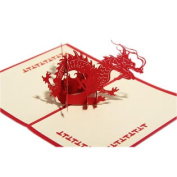 Creative DIY Hand-Made 3D Paper Sculptures Birthday Card/Chinese Dragon, Red