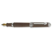 Wedgwood Chocolate Fountain Pen, Greek Key Motif Middle Ring with Chrome Accents