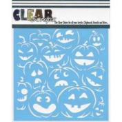 Clear Scraps Stencils 30cm x 30cm -Pumpkin Faces