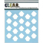 Clear Scraps Stencils 30cm x 30cm -Cupcakes