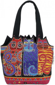 Medium Tote Zipper Top 30cm x 8.9cm X8-1.3cm -Tres Gatos -Red/Orange/Blue
