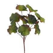 41cm Burlap Geranium Leaf Spray Green Burgundy