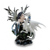 Blue Dragon Fairy w/Tail and White Snow Dragon Sculpted Statue