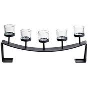 Home Source 500-29148 Table Top 5-Candle Holder, 21 by 7.6cm by 15cm , Black/Clear