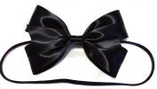 Black Shiny Satin Alice in Wonderland Hair Bow