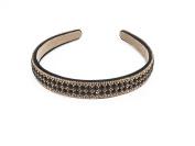 Yeshine Lady Rhinestone and Crystal Beaded Handmade Headband,hairband for Lady,golden and Black