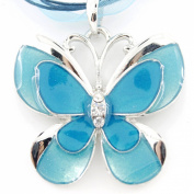 Silver Tone Enamel Crystal Butterfly Pendant Necklace