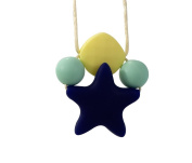 Stimtastic Chewable Silicone Star Pendant Necklace Nontoxic BPA and Phthalate Free, Navy