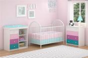 Cosco Kids Furniture Kaleidoscope 4 Drawer Dresser, Whimsy/White Stipple