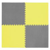Tadpoles 4 Piece Squares Playmat Set, Yellow/Grey, 60cm
