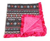 Baby Minky Receiving Blanket - 80cm x 80cm - Cotton Polyester - Hot Pink Aztec