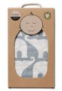 Milkbarn Organic Cotton Swaddle Blanket - Blue Elephant