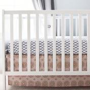 Oliver B Pinwheel Crib Skirt, Pink/Grey/Gold