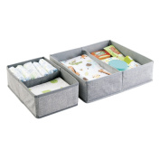 mDesign Fabric Baby Nursery Closet Organiser for Clothing, Towels, Nappies, Lotion, Wipes - Set of 2, 4 Compartments, Grey
