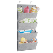 mDesign Wall Mount/Over Door Fabric Baby Nursery Closet Organiser for Stuffed Animals, Nappies, Wipes, Towels - 4 Pockets, Grey