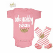 G & G - Cute Baby Girls 3pc First Birthday Outfit Pink and Gold