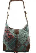 Women's / Girls Hippy Hobo Lace Floral Multicolor Design on Canvas Material Handbag