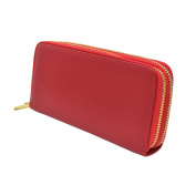 Premium Solid PU Leather Double Zip Around Organiser Wallet Wristlet