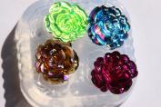 SALE! Clear-silicone beads Moulds,4- pc.Good for pendants,earrings, bracelet, art,craft. 25MM flower flatback Scrapbooking wedding /