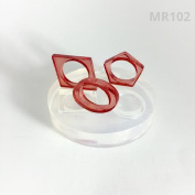 Alamould Moulds Clear Silicone Mould for Creating a Three Geometrical Rings Set in One Mould (MR102) Size7