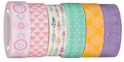 Evermae Design Co. -- Pretty Pastel Premium Japanese Washi Tape, Set of 6 for Scrapbooking, Crafts, and DIY Projects