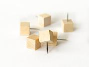 50 Wood Cube Push Pins or Wooden Square Thumb Tacks
