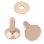 25 pcs 10mm x 12mm x 3.3mm Solid Copper Rivets & Burrs Permanent Fasteners Gauge Leathercraft Horse Tack