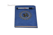 Nepali Notebook of Handmade Lokta Paper with OM printed on cover. Made in Nepal. (21 x 15.5 cm)
