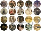 Assorted Vintage Nursery Fariy Tale Images by Arthur Rackham, B 4.4cm Circles Collage Sheet