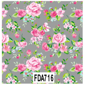 Decopatch Decoupage Printed Paper FDA716 Grey Background Floral