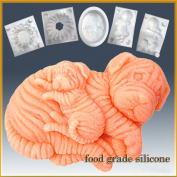 Sharpei Dogs - Mama & Puppy- Detail of High Relief Sculpture - Silicone Soap/sugar/fondant/chocolate/marzipan 2d Mould