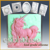 Elissa the Unicorn Queen- Detail of High Relief Sculpture - Silicone Soap/sugar/fondant/chocolate/marzipan 2d Mould