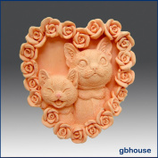 Kitty Kat Heart - Detail of High Relief Sculpture - Silicone Soap/sugar/fondant/chocolate/marzipan 2d Mould