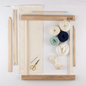 BEGINNERS FRAME LOOM WEAVING KIT / EVERYTHING YOU NEED TO MAKE YOUR OWN WOVEN WALL HANGING/MINT & NAVY