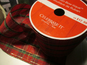 13cm x 7.6m extra Wide Tartan plaid wired ribbon with gold metalic accent stripes