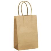 JAM Paper® Gift Bags - Mini Shopping Bag (14cm x 8.3cm x 21cm ) - Natural Brown Kraft - 250 Bags per Case