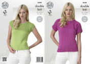 King Cole Ladies Double Knitting Pattern Womens Easy Knit Short Sleeved Tops Cottonsoft DK
