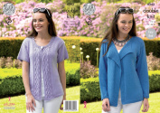 King Cole Ladies Double Knitting Pattern Womens Easy Knit Cardigans Bamboo Cotton DK
