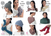 King Cole Baby Alpaca DK Knitting Pattern Womens Winter Accessories - Hats Scarf Shawl Gloves