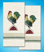 Stamped Embroidery Pack Kitchen Towels Pair 46cm x 70cm ~ ROOSTER