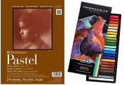 Strathmore 36kg 24-Sheets Assorted Pastel Paper Pad, 23cm by 30cm with a 24 Count Prismacolor Nupastel Set