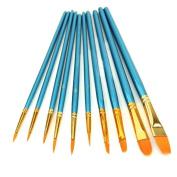 Yoyorule 10Pcs Artists Paint Brush Set Acrylic Watercolour Round Pointed Tip Nylon Hair