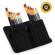 Artify 15 Pcs Art Paint Brush Set Perfect for Acrylic Oil Watercolour Face Painting Long-handle Artist Paintbrushes with Travel Holder Pop up Stand for Anyone Student Artist Grade