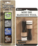 Ranger Tim Holtz Distress Mini Ink Kits and Mini Ink Blending Tool Bundle - 2 Items
