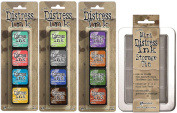 Ranger Tim Holtz Distress Mini Ink Pad Kits with Storage Tin - #13, #14, #15 - Bundle of 4