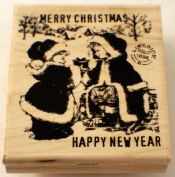 STAMPINGTON AND CO MERRY CHRISTMAS HAPPY NEW YEAR CHILDREN RUBBER STAMP #K5542