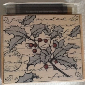 Holly Sprig Wood Mounted Rubber Stamp with 2-colour Ink Pen